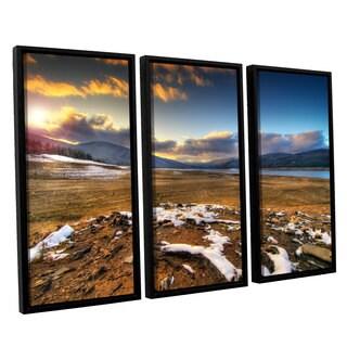 ArtWall 'Dragos Dumitrascu's The Winter Sun' 3-piece Floater Framed Canvas Set
