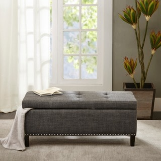 Madison Park Tessa Charcoal Tufted Top Storage Bench