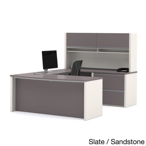 Bestar Connexion U-shaped Workstation Desk with Lateral File