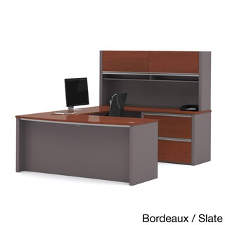 Bestar Connexion U-shaped Workstation Desk with Lateral File (Option: Red - Red Finish/Grey Finish)