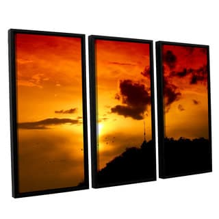 ArtWall 'Dragos Dumitrascu's Red Sky' 3-piece Floater Framed Canvas Set