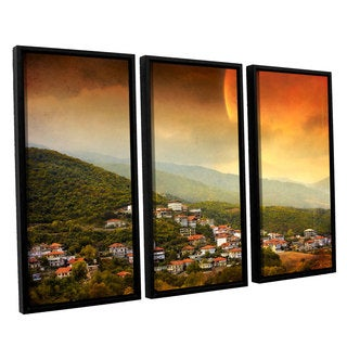 ArtWall 'Dragos Dumitrascu's Red Dawn' 3-piece Floater Framed Canvas Set