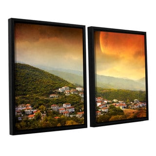 ArtWall 'Dragos Dumitrascu's Red Dawn' 2-piece Floater Framed Canvas Set
