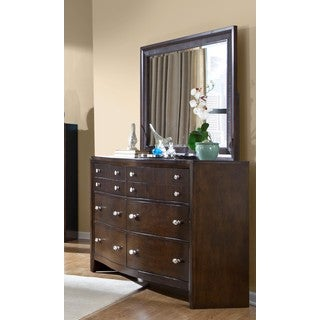LYKE Home Ema Espresso Dresser and Mirror Set