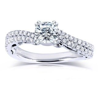 Annello by Kobelli 14k White Gold 2ct Moissanite and 2/5ct TDW Diamond Curved Engagement Ring