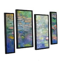 ArtWall 'Michael Creese's Water' 4-piece Floater Framed Canvas Staggered Set - Multi