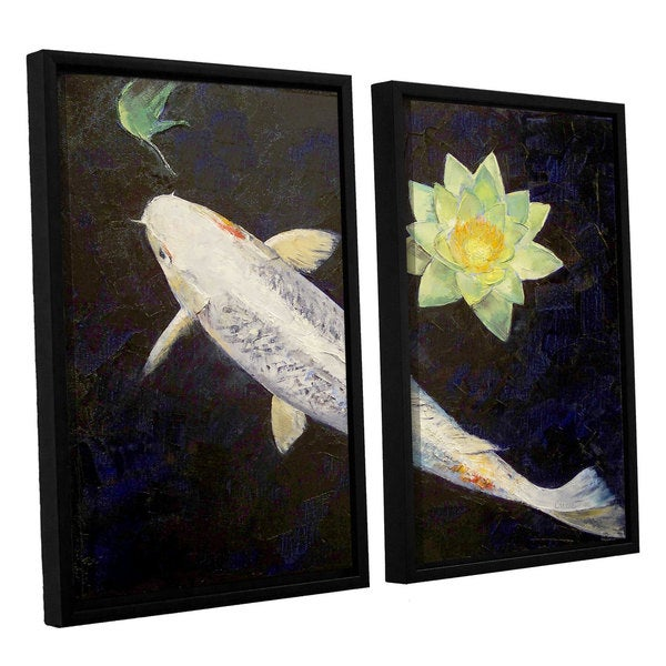 ArtWall 'Michael Creese's Platinum Ogon Koi' 2-piece Floater Framed Canvas Set - Black/White