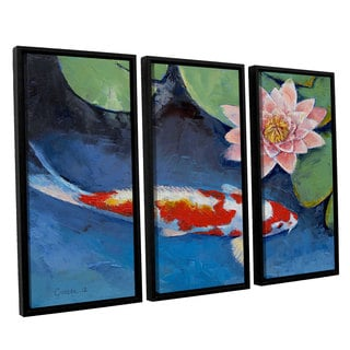 ArtWall 'Michael Creese's Koi and Water Lily' 3-piece Floater Framed Canvas Set