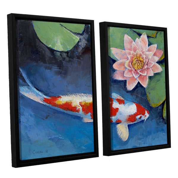 ArtWall 'Michael Creese's Koi and Water Lily' 2-piece Floater Framed Canvas Set - Multi
