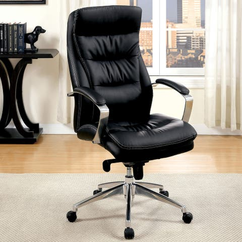Furniture of America Hito Faux Leather Home Office Chair, Black