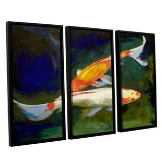 ArtWall 'Michael Creese's Feng Shui Koi Fish' 3-piece Floater Framed Canvas Set