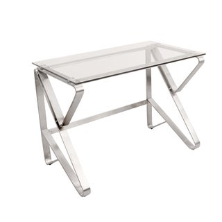 Foundry Contemporary Desk in Brushed Stainless Steel + Clear Glass
