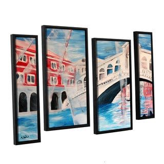 Shop Artwall Marcus Martina Bleichner S Rialto Bridge 4 Piece Floater Framed Canvas Staggered Set Overstock 11375181