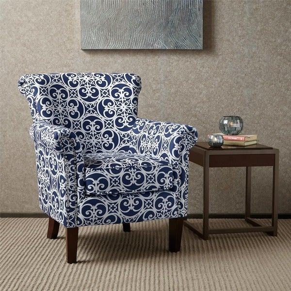 Madison Park Miri Navy/White Tight Back Club Chair. Opens flyout.