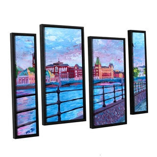 ArtWall 'Marcus/Martina Bleichner's Stockholm City View' 4-piece Floater Framed Canvas Staggered Set