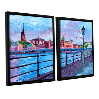 ArtWall 'Marcus/Martina Bleichner's Stockholm City View' 2-piece Floater Framed Canvas Set