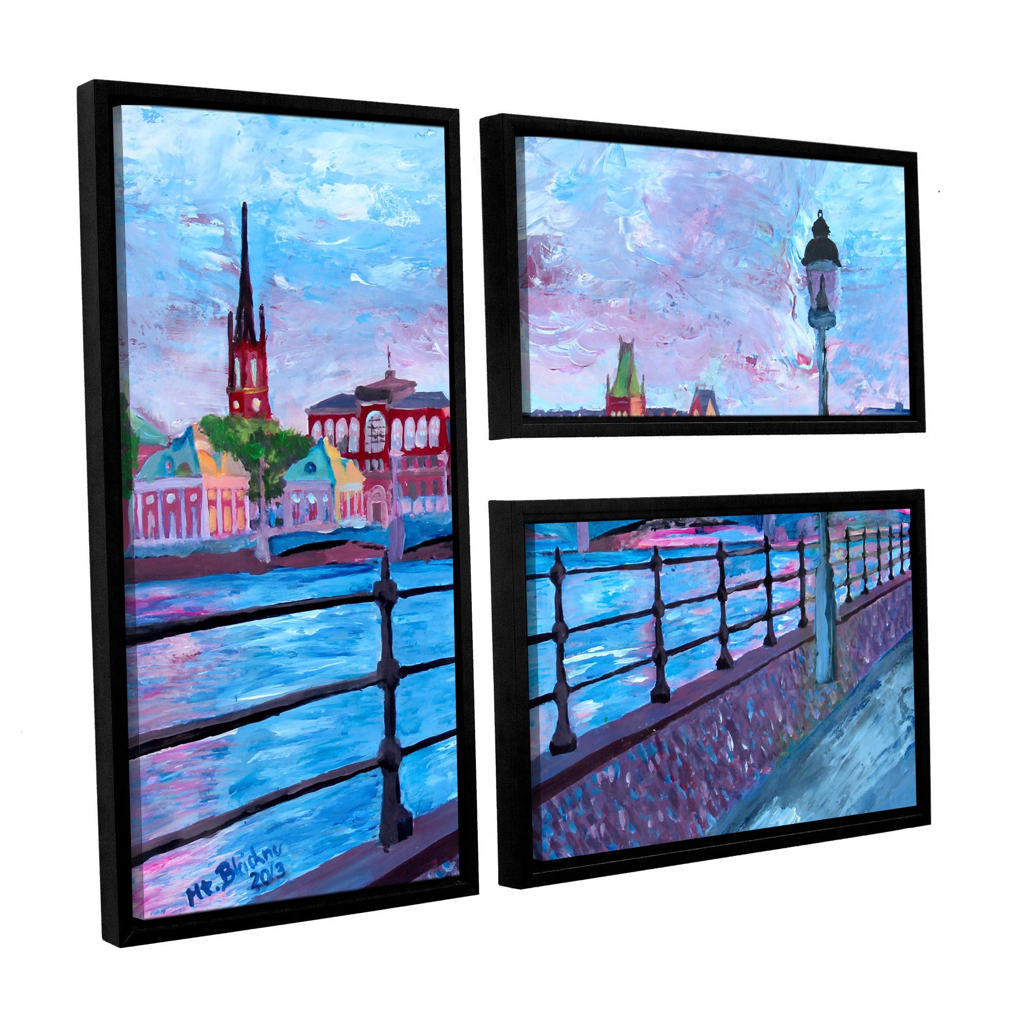 Artwall Marcus Martina Bleichner S Stockholm City View 3 Piece Floater Framed Canvas Flag Set Overstock 11375248