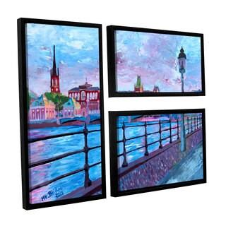 ArtWall 'Marcus/Martina Bleichner's Stockholm City View' 3-piece Floater Framed Canvas Flag Set