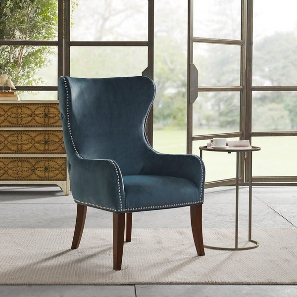 Slate Couch And Blue Accent Chair In Living Room: Shop Madison Park Irvine Slate Blue Button Tufted Back