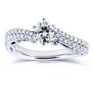 Annello 14k White Gold 7/8ct Oval Moissanite and 2/5ct TDW Diamond Curved Engagement Ring (H-I, I1-I2)