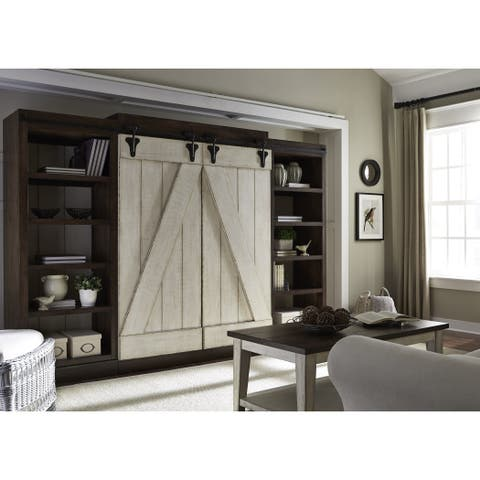 Lancaster Weathered Bark and White Entertainment Center with Piers