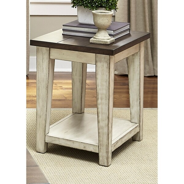 The Gray Barn Vermejo Weathered Bark And White Side Table