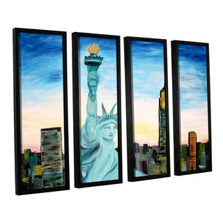 ArtWall 'Marcus/Martina Bleichner's Statue of Liberty with view of Mew York' 4-piece Floater Framed Canvas Set