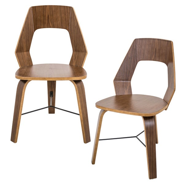 Trilogy Mid-Century Modern Wood and Metal Dining Chair (Set of 2)