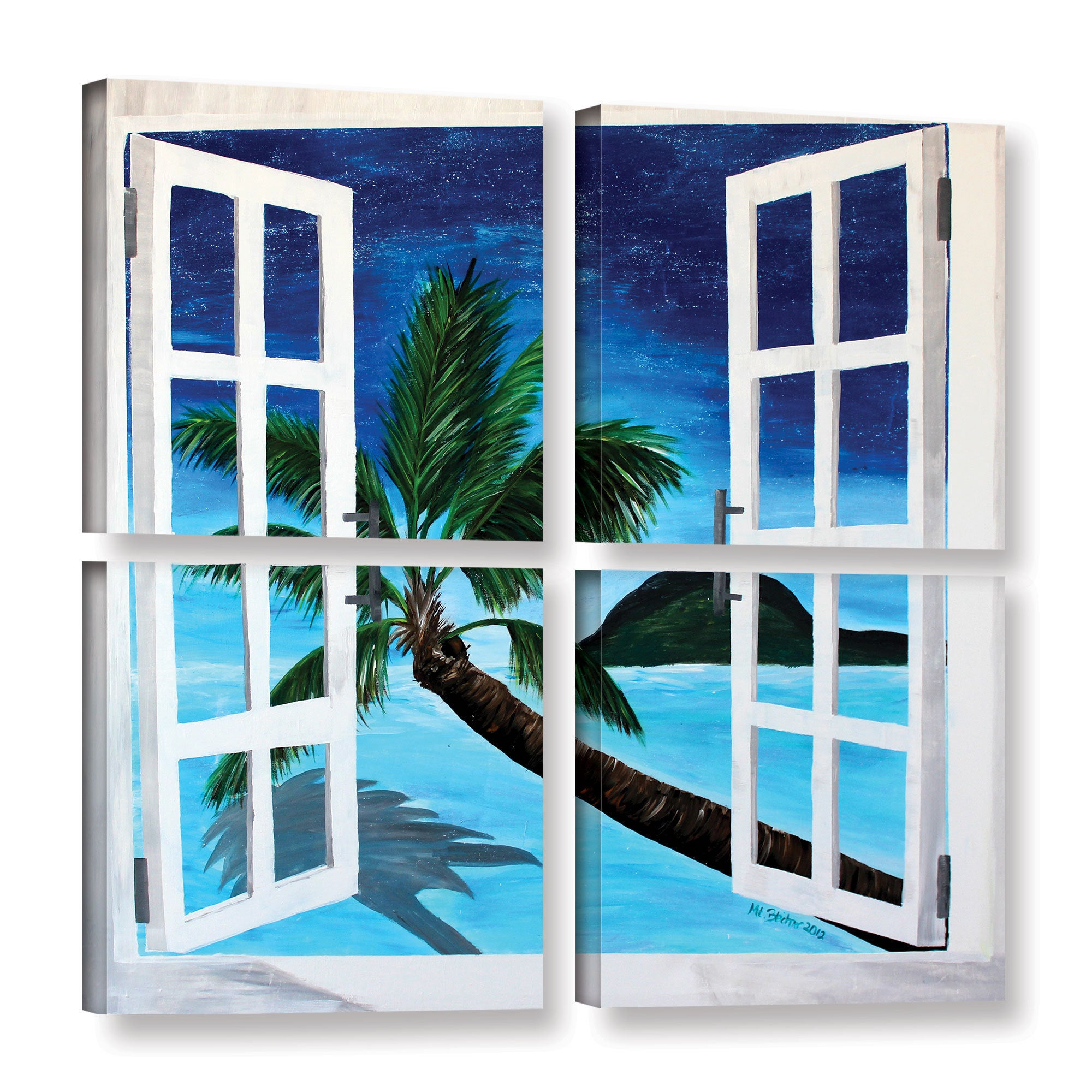 Shop Artwall Marcus Martina Bleichner S Palm View Window 4 Piece Gallery Wrapped Canvas Square Set Multi On Sale Overstock 11375346