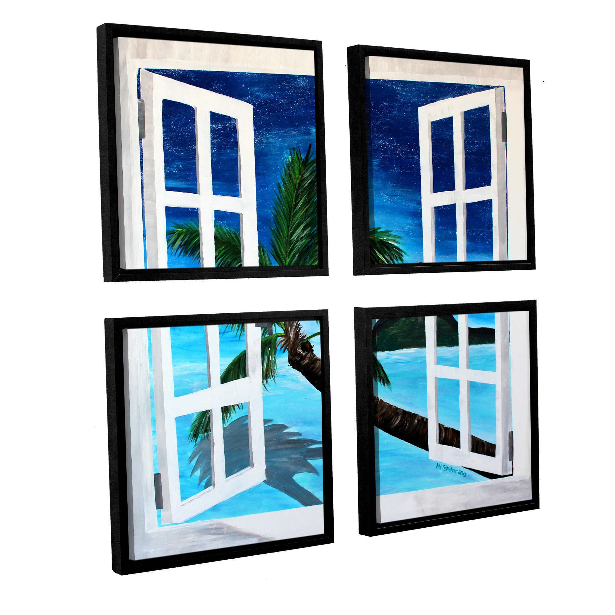 Artwall Marcus Martina Bleichner S Palm View Window 4 Piece Floater Framed Canvas Sqare Set Overstock 11375349