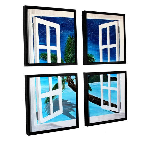 ArtWall 'Marcus/Martina Bleichner's Palm View Window' 4-piece Floater Framed Canvas Sqare Set