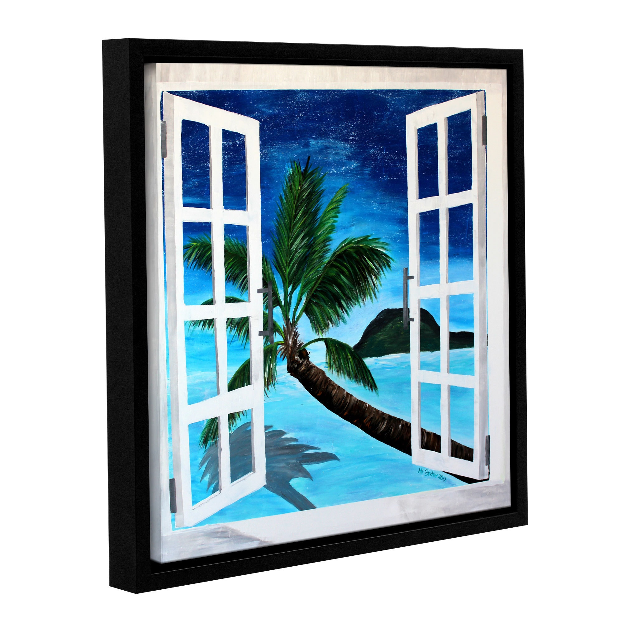 Shop Artwall Marcus Martina Bleichner S Palm View Window Gallery Wrapped Floater Framed Canvas Multi Overstock 11375350