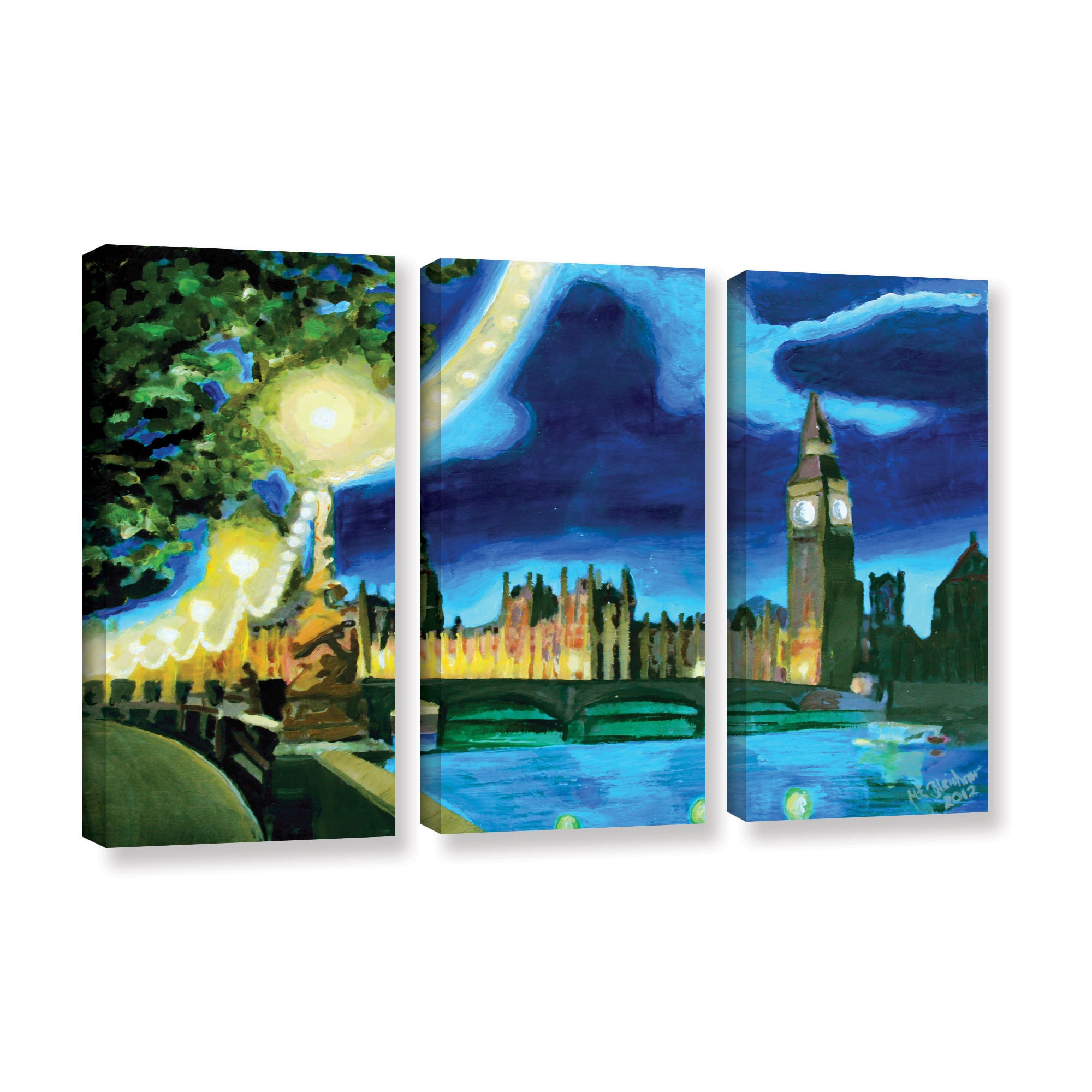 Artwall Marcus Martina Bleichner S London Big Ben And Parliament With Thames 3 Piece Gallery Wrapped Canvas Set Multi On Sale Overstock 11375365