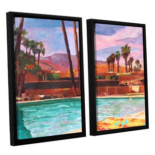 ArtWall 'Marcus/Martina Bleichner's The Palm Springs Pool' 2-piece Floater Framed Canvas Set