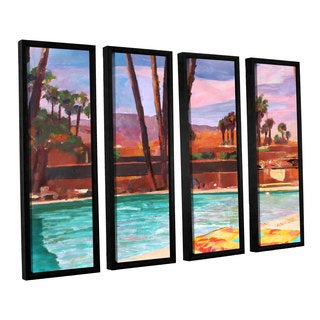 ArtWall 'Marcus/Martina Bleichner's The Palm Springs Pool' 4-piece Floater Framed Canvas Set