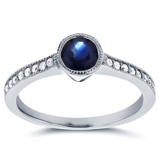 Annello by Kobelli 14k White Gold Sapphire and 1/5ct TDW Diamond Bezel Ring (G-H, I1-I2)