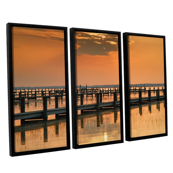 ArtWall 'Steve Ainsworth's Silver and Gold' 3-piece Floater Framed Canvas Set