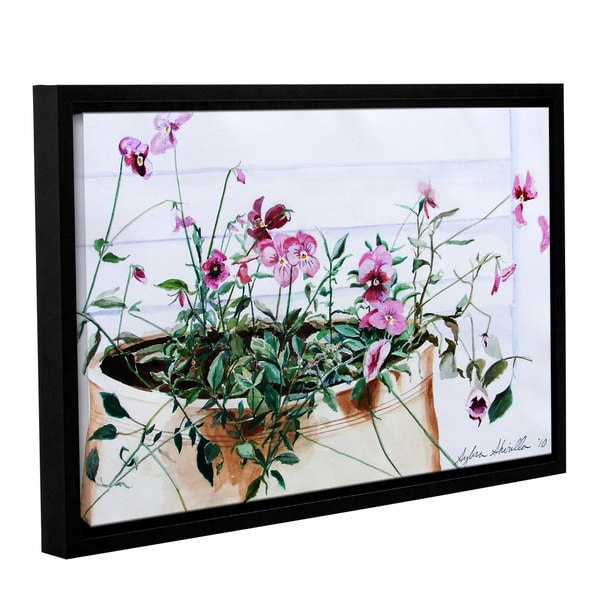 ArtWall 'Sylvia Shirilla's Pansies' Gallery Wrapped Floater-framed Canvas