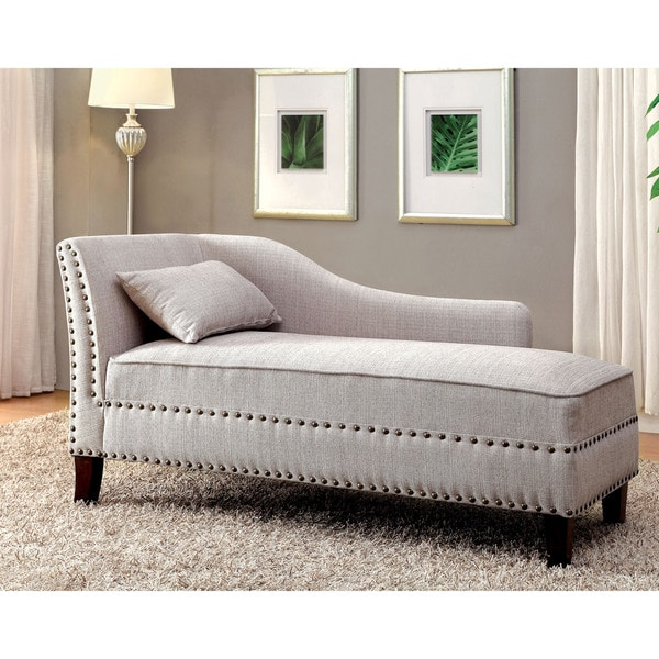 Furniture of America Gillian Romantic Nailhead Trim Linen-like Upholstered Chaise Lounge  sc 1 st  Overstock : upholstered chaise - Sectionals, Sofas & Couches
