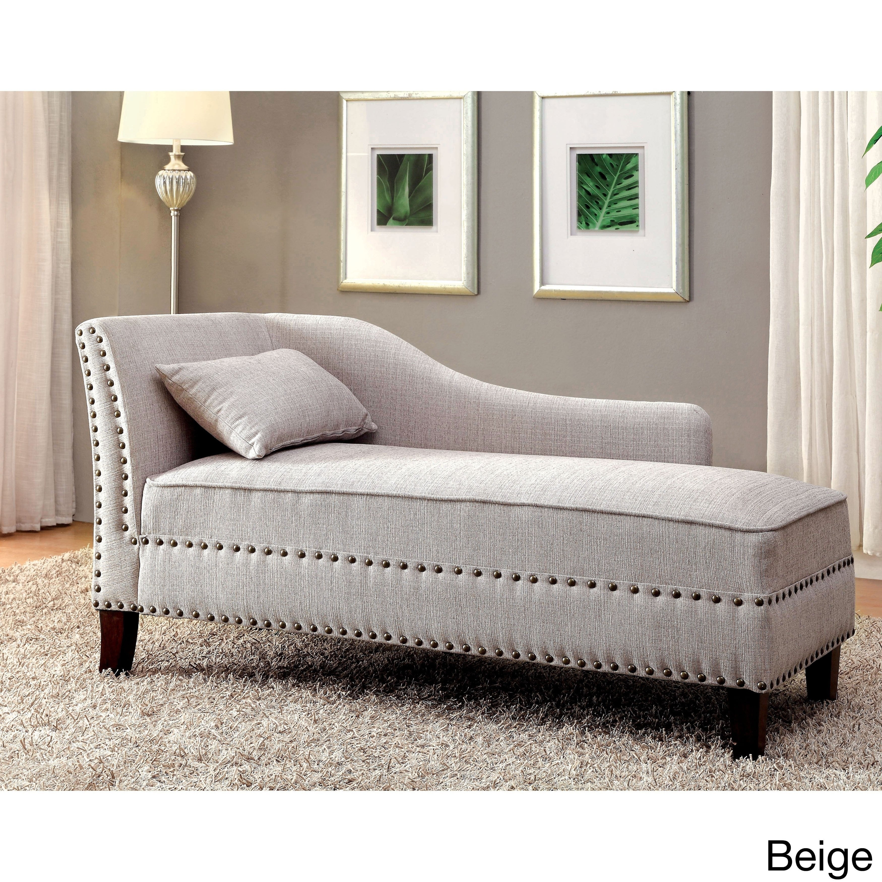Awesome Gillian Romantic Modern Nailhead Trim Upholstered Chaise Lounge By Foa Beatyapartments Chair Design Images Beatyapartmentscom