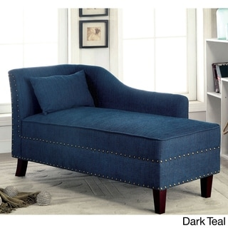 Furniture Of America Gillian Romantic Nailhead Trim Linen Like Upholstered  Chaise Lounge
