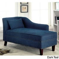 Furniture of America Gillian Romantic Nailhead Trim Linen-like Upholstered Chaise Lounge