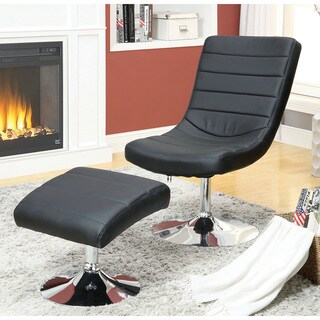 Furniture of America Tracelli Contemporary 2-piece Faux Leather Chair and Ottoman Set