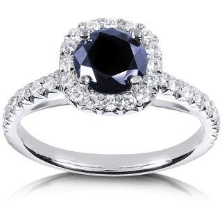 Annello by Kobelli 14k White Gold Sapphire and 2/5ct TDW Diamond Halo Ring (G-H, I1-I2)