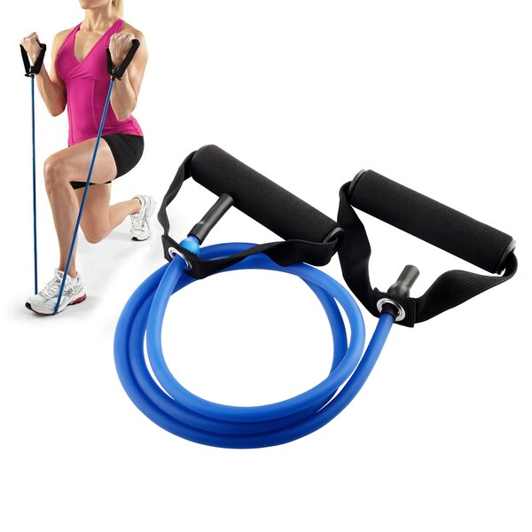 Insten Blue Gym Rubber Long 25 Pounds Resistance Tube Power Building 53.5-inch