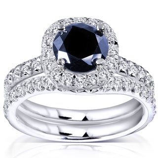 Annello by Kobelli 14k White Gold Sapphire and 5/8ct TDW Diamond Halo Bridal Set (G-H, I1