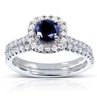 Annello by Kobelli 14k White Gold Sapphire and 2/5ct TDW Diamond Halo Bridal Set (G-H, I1