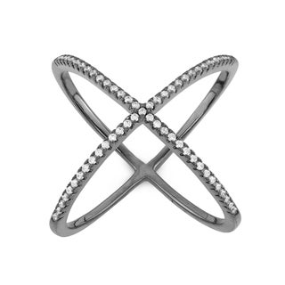 Gioelli Sterling Silver or Goldplated Cubic Zirconia Trend 'X' Ring