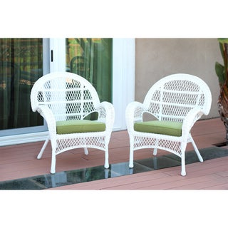 Santa Maria White Wicker Chair With Cushion (Set of 2)