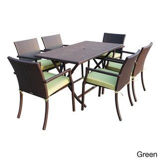 7-piece Cafe Resin Wicker Dining Set (Green - 5-Piece Sets)